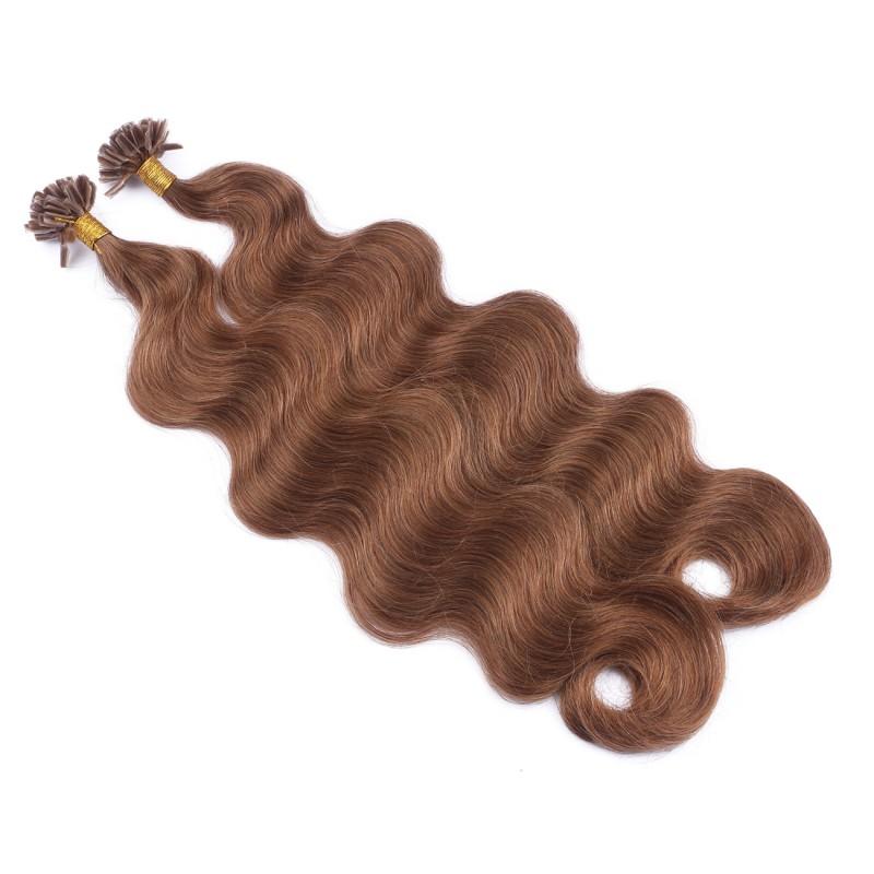 25 keratin bonding hair extensions 8 goldbraun gewellt. Black Bedroom Furniture Sets. Home Design Ideas