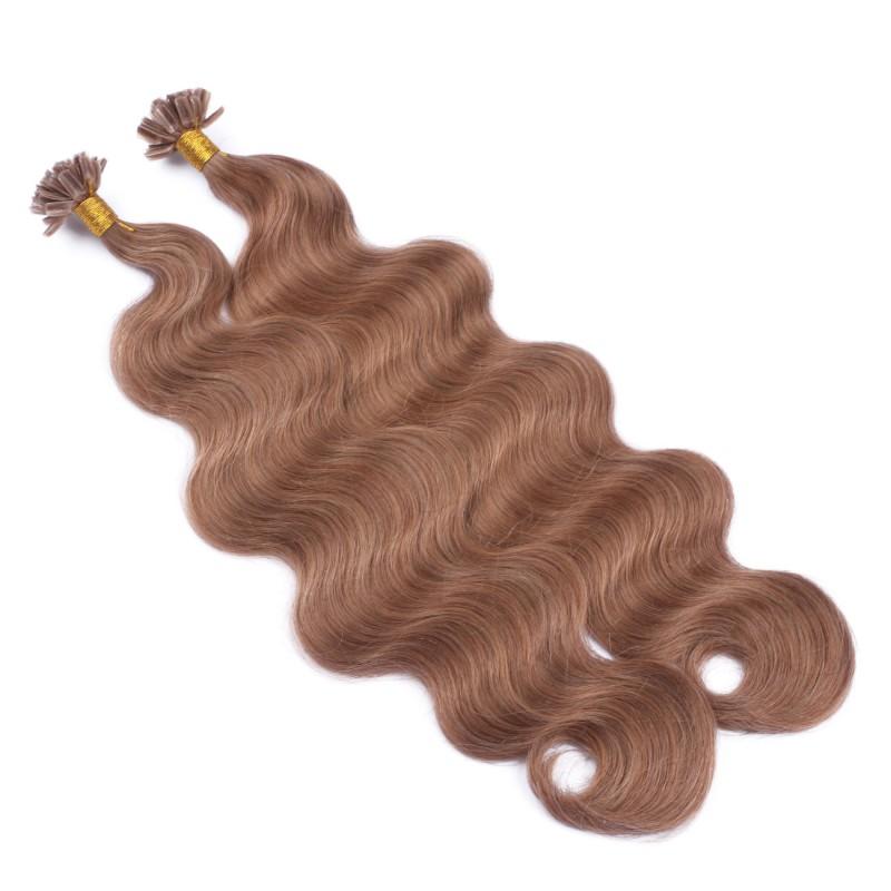 25 keratin bonding hair extensions 10 leichtbraun gewellt 100 ech. Black Bedroom Furniture Sets. Home Design Ideas