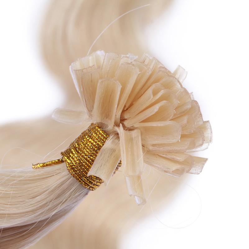 25 keratin bonding hair extensions 60 weissblond gewellt 100 echt. Black Bedroom Furniture Sets. Home Design Ideas