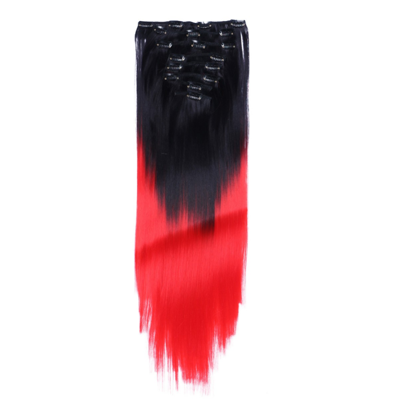 Red Ombre Clip In Hair Extensions 62