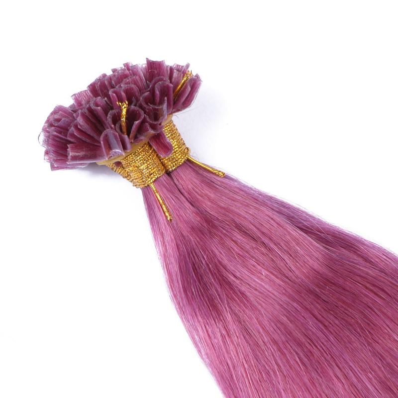 keratin bonding hair extensions violett 100 echthaar. Black Bedroom Furniture Sets. Home Design Ideas